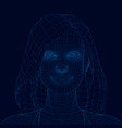 polygonal portrait a girl with long hair girl vector image vector image