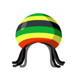 rastafarian hat and dreadlocks isolated jamaica vector image vector image