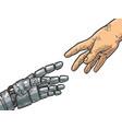 robot and human hand engraving vector image vector image