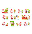 Santa claus activities set vector image