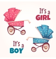 set of flat baby girl and boy carriage vector image vector image