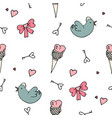 set of valentine pattern in doodle style vector image vector image