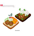 smorrebrod with meatball the national dish of denm vector image vector image