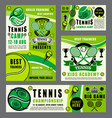sport school of tennis game with rackets and ball vector image vector image