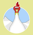 sticker cartoon chicken icon vector image