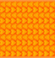 striped yellow hearts on an orange background vector image vector image