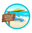 summer holiday sign vector image vector image