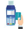swipe credit card using credit card terminal vector image vector image