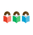 three man reading a books vector image vector image
