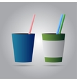 two drinks with straws vector image vector image
