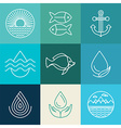 water line icons and logos vector image vector image