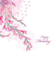 Watercolor flowers pink wisteria card vector image vector image