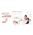 work at home - line design style web banner vector image