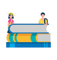 young man and woman with stack books study vector image vector image