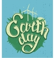 April 22 Earth Day Green Earth and wind energy vector image