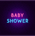 baby shower neon text vector image vector image