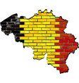 Belgium map on a brick wall vector image vector image