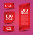 big sale banner set ribbon vector image vector image