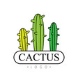 cactus logo badge with desert plants vector image