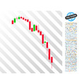 candlestick falling acceleration chart flat icon vector image vector image