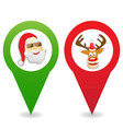 cartoon christmas map pin icons vector image vector image