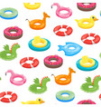 cartoon color swimming ring toy seamless pattern vector image vector image