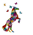 colorful with patterned horse and butterflies vector image