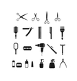 comb scissors set black icon vector image