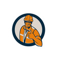 Construction Worker Thumbs Up Circle Retro vector image vector image