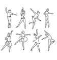 continuous line sketch drawing ballet dancer vector image