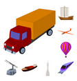 different types of transport cartoon icons in set vector image