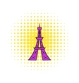 Eiffel Tower icon comics style vector image vector image