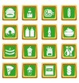 fast food icons set green square vector image vector image