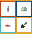 flat icon dacha set of pump hacksaw hothouse and vector image vector image