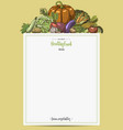 fresh vegetables menu with space for text hand vector image vector image