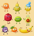 funny fruit characters isolated on background vector image vector image