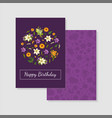 happy birthday purple card template with floral vector image vector image