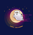 happy halloween card with funny flying ghost and vector image vector image