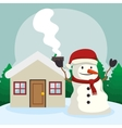 happy merry christmas snowman character vector image vector image