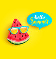 hello summer greeting banner with watermelon vector image vector image