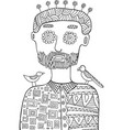 hipster man with birds and flowers on his head vector image