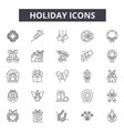holiday line icons signs set outline vector image vector image