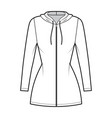 hoodie zip-up dress technical fashion vector image vector image