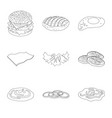 isolated object of burger and sandwich sign set vector image vector image