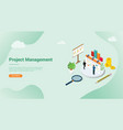 isometric 3d project management concept for vector image vector image