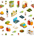 isometric hotel icons pattern or background vector image vector image