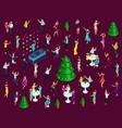 isometrics celebrating christmas a lot of 3d men vector image vector image