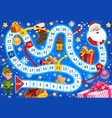 kids christmas roll and move boardgame template vector image
