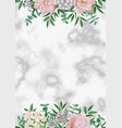 luxury template with pink flowers on white marble vector image