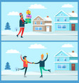 man and presents winter set vector image